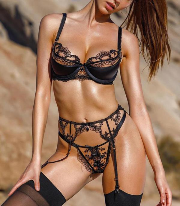 Hot Transparent Black Lace Lingerie Set Erotic Push Up Bra